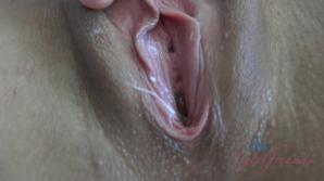 Her puffy and shaved pussy looks great with your cum all over it